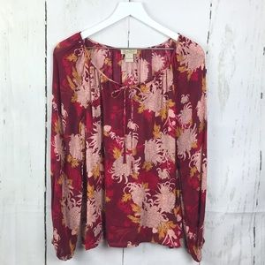 Lucky Brand Rayon Sheer Floral Peasant Blouse